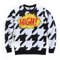 Mr 1991INC Brand Men Hoodies 3D HIGH Houndstooth Design Printed Long Sleeve O Neck 96 Polyester