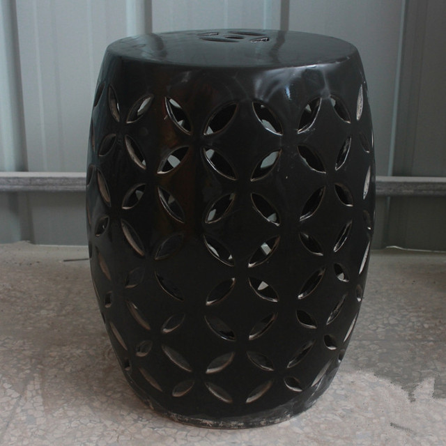 Negro Jingdezhen porcelana chino heces Jardín de cerámica baño ...
