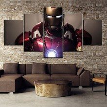 5 Pieces HD Printed Painting Iron Man Canvas Wall Art Picture Home Decoration Living Room Decor