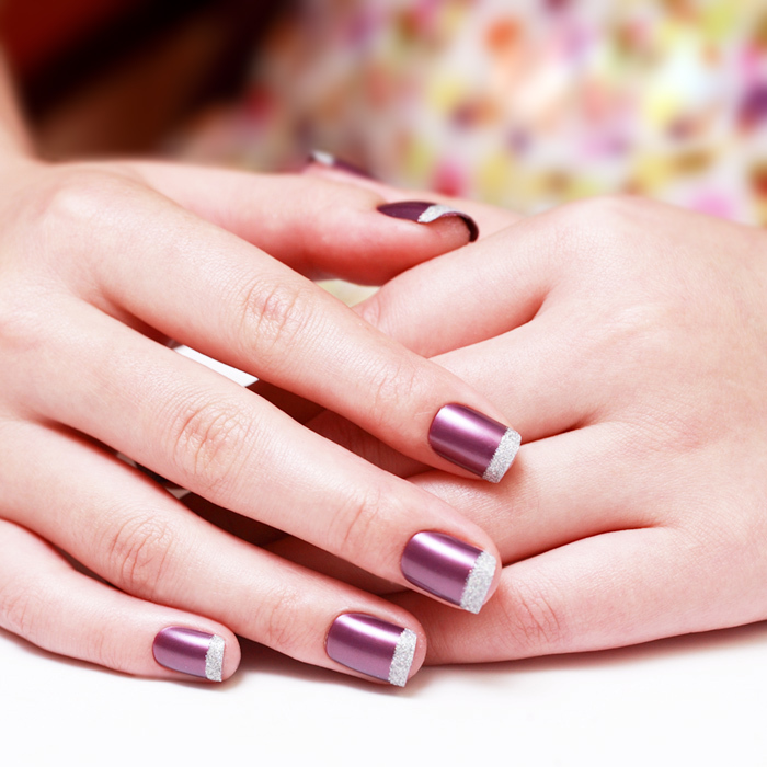 Twinkling Purple French Manicure Girl About Town False Nails 24 Full ...