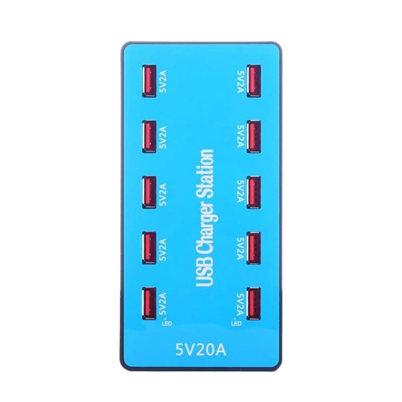 Usb Charger 100W 10 Ports Usb 20A Smart Desktop Charging Station For 5V 2A For Samsung Xiaomi Ipad Iphone X(Eu Plug)