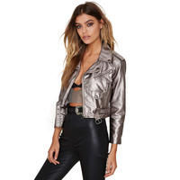 Haoduoyi Women Punk Style jacket Short Pu Leather Jacket Turn down Collar Silver More pockets and more zipper Jacket Outwears