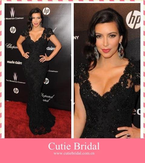 Sheath Black Lace Celebrity Dress Unique Cap Sleeves Celebrity
