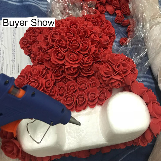 Foam Bear Mold PE Rose Artificial Flower Heads Rose Bear White Mold and Gift Box DIY Rose Bear Accessories Bag 1
