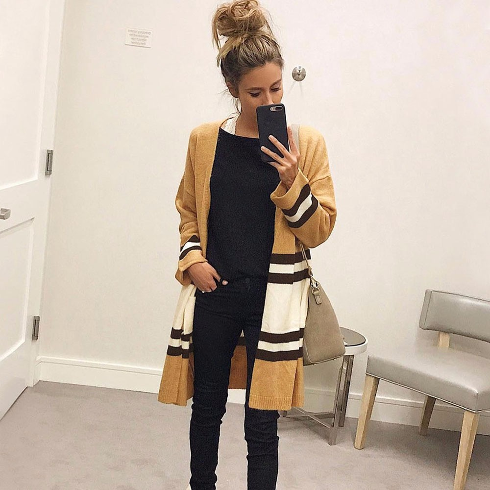 Feitong 2017 Women Autumn Winter Cardigan Long Sleeve Loose Casual Striped long Sweater Coat Jersey Mujer Invierno jd4