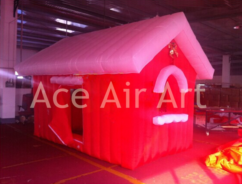 red portable and durable inflatable Christmas house for rental