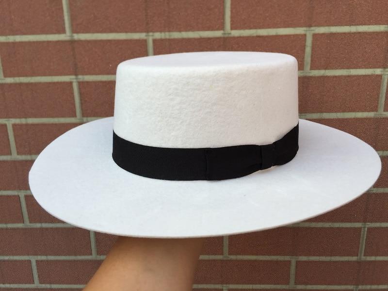 ᗔBlanco Panamá lana boater porkpie Flat Top corona Fedora sombrero ...