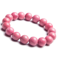 12mm Natural Rose Pink Rhodonite Gems Stone Stretch Bracelets For Women Lady Charm Round Beads Jewelry Love Charm Bracelet