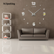 M.Sparkling large round wall clock 3D modern self adhesive bedroom digital decorative clocks home decoration