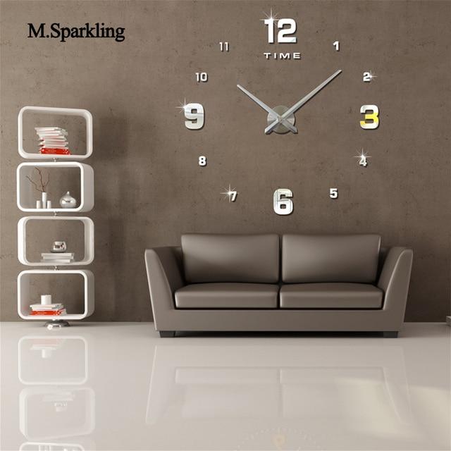 MSparkling large round wall clock 3D modern wall clock self