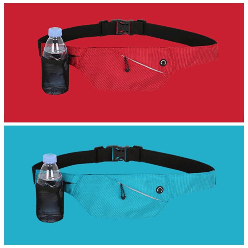 With Water Bottle Pack Running Fanny Pack Pouch Belt Men Women Waist Bags Purse Mobile Phone Pocket Case Camping Hiking Sports
