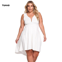 TUHAO sexy women's party Dresses 2018 spring summer Elegant white black navy Plus Size 4XL dress 2XL 3XL dresses for femme DL73
