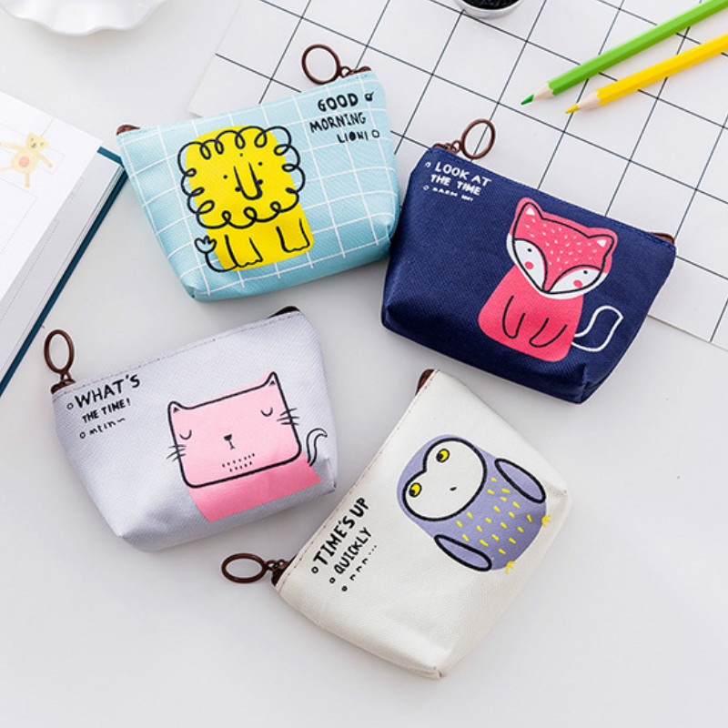 Korean Style Cute Coin Purses Kids Change Purses Cartoon Girls Small Wallet Canvas Money Bag Portable Card Pouch Earphone Bag