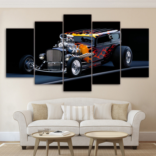 5 Pieces HD Printed Modern Poster Modular Oil Painting Hot Rod Sports Car Canvas Wall Art Pictures Framework Home Decor Poster