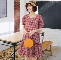 New Trendy Fashion Plaid Woman Dress Summer L XL Pregnant Woman Dress Korea Loose Maternity Dress MAMA Short Sleeve Clothes