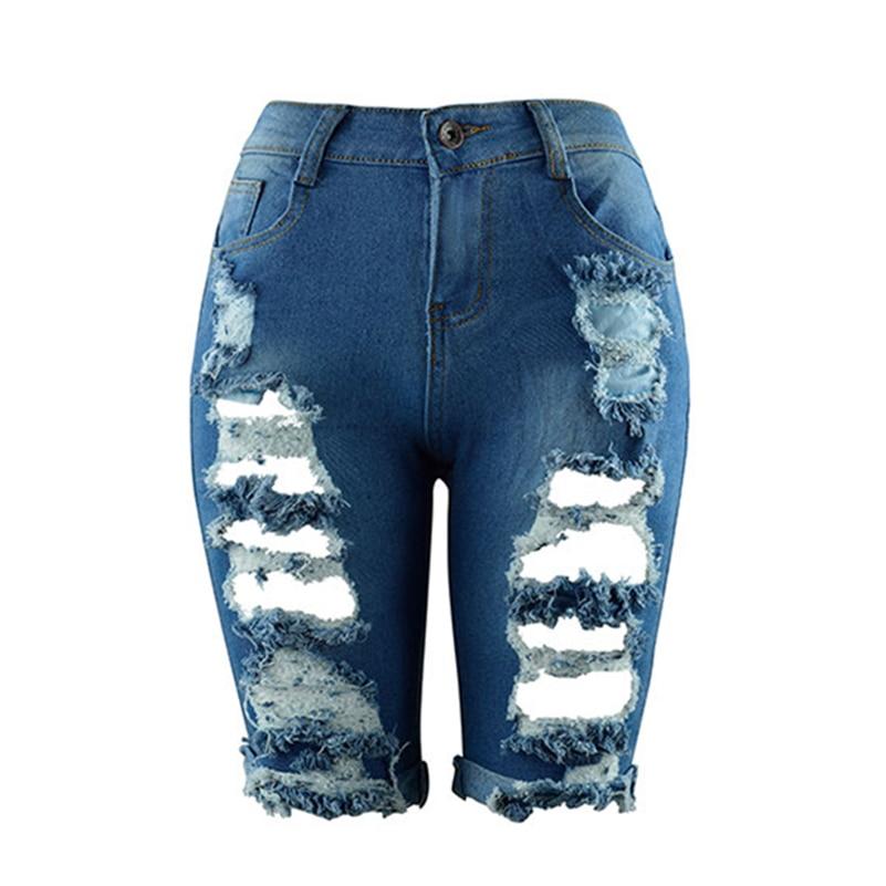 Womens Hole Ripped Denim   Shorts   Frayed   Short   Jeans Vintage Plus Size High Waist Boyfriend Hot   Shorts   Blue Jeans Summer Female
