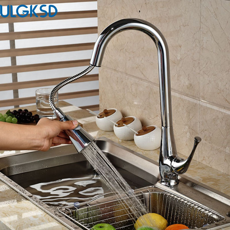 Ulgksd Chrome Pull Out Sprayer Deck Mounted Kitchen Sink Faucet Hot and Cold Water Taps Bathroom