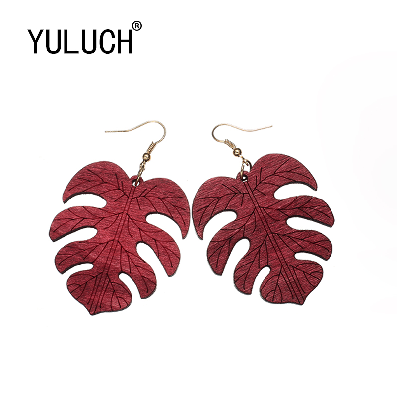 YULUCH Natural Wood Art Maple Leaf Pendant Earrings for Women Valentine's Day Party Elegant Jewelry for Girl Ladies