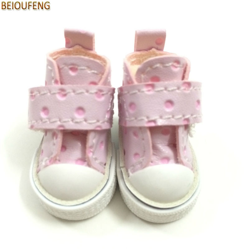 BEIOUFENG Mini 3.5CM BJD Doll Shoes Footwear Sneakers Shoes for Dolls,Fashion Toy Boots PU Sports Gym Shoes for BJD Doll 2 Pair exclusive shining boots for bjd 1 3 sd17 uncle ssdf id ip eid big foot doll shoes sm7