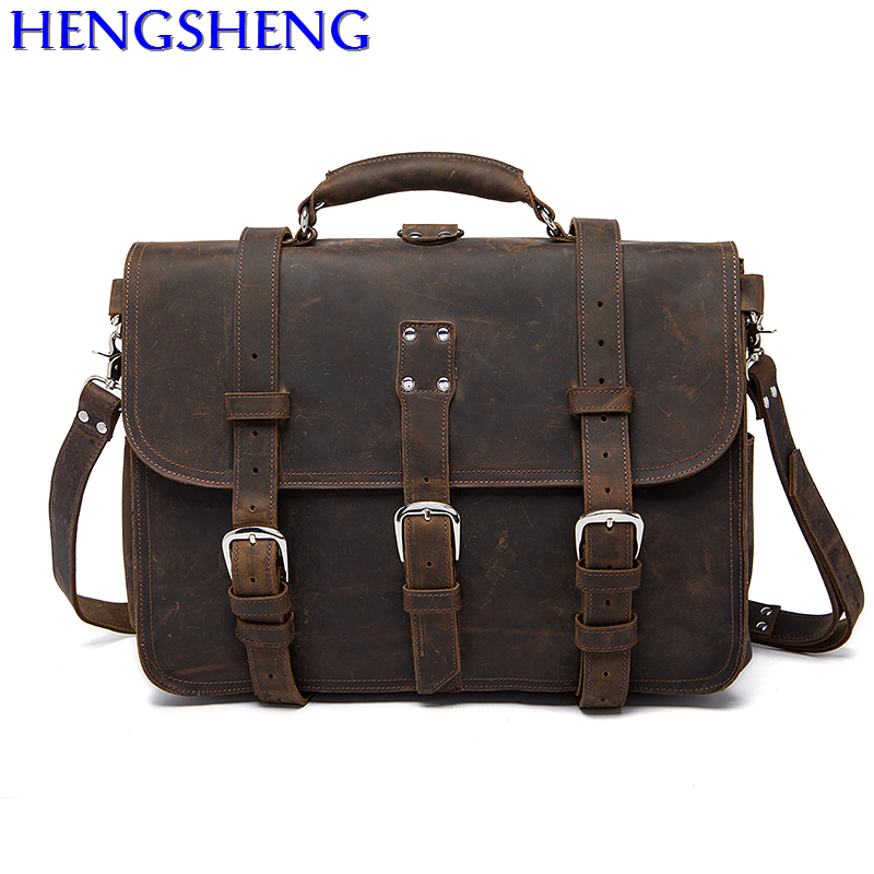 Free Shipping Vintage genuine men messengers bag with quality cow leather men briefcase and vintage men single shoulder bags free shipping dbaihuk golf clothing bags shoes bag double shoulder men s golf apparel bag