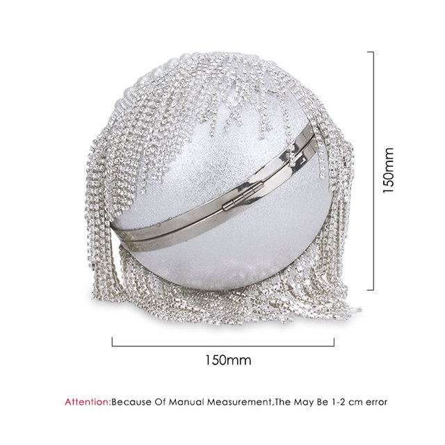 Tassel Pearl Beaded Crystal Round Ball Wrist Bag Clutch