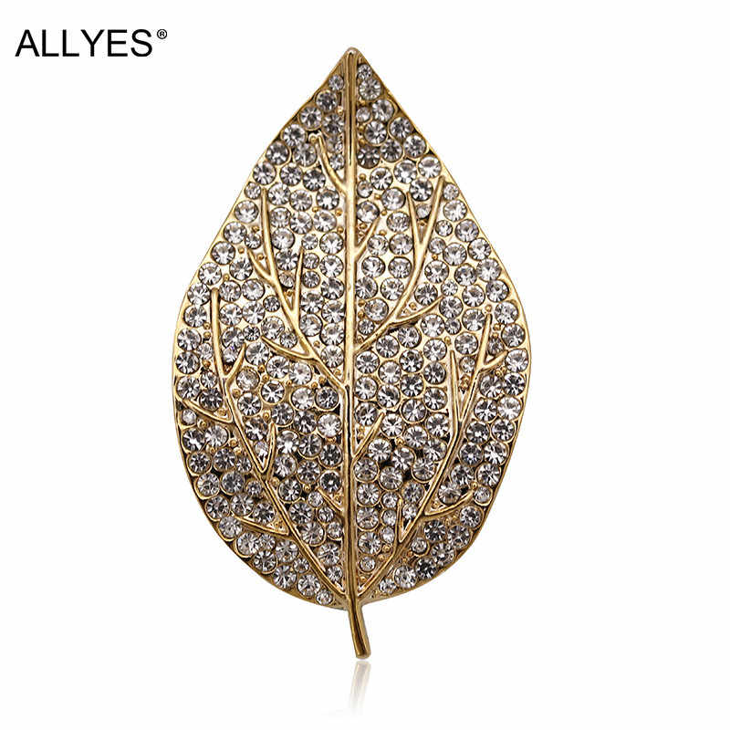 ALLYES Gold Color Leaf Brooches For Women Jewelry Female Vintage Party Czech Crystal Paved Clothes Collar Large Pin Brooch