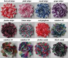 "Free USA ePacket/CPAP 120pcs 130 colors 2.5"" chic shabby shiny print chiffon flowers for girls headbands hair accessories"