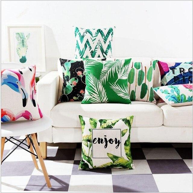 Drop Ship Chevron Leaves Pillow Cover Linen Cushion Geometric Decorative Throw Home Decor Pillowcase