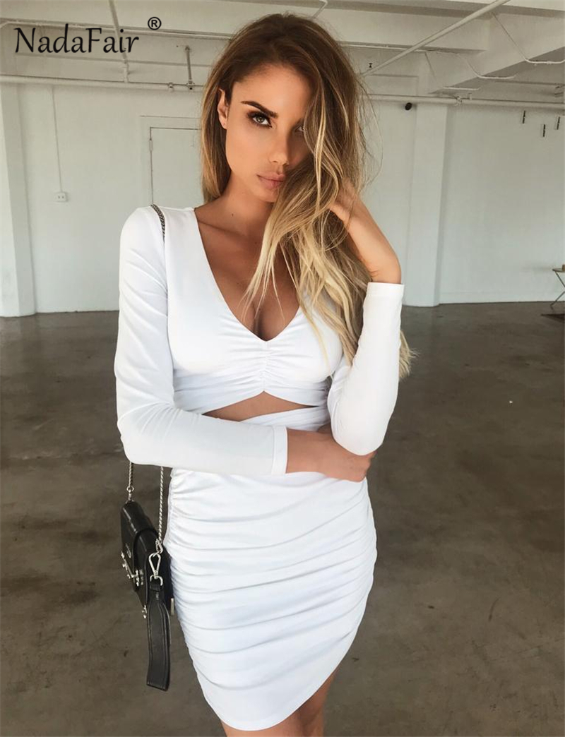 ... Autumn White Black Bodycon Mini Dress Women Hollow Out V Neck Club  Party Sexy Dresses. HTB1MI0drNGYBuNjy0Fnq6x5lpXaJ. long sleeve bandage  bodycon ... 422bdbd94