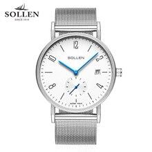 Moda top marca relojes de lujo hombres de la correa de malla de acero inoxidable reloj de cuarzo ultra delgado reloj dial relogio masculino