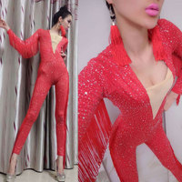Red Full rhinestone tasselStretch Jumpsuit Rhinestones One Piece Bodysuit Costume Stage Outfit Singer Dancer Performance Rompers