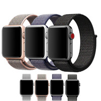 Sport Loop Bands For Apple Watch Band Soft Breathable Woven Nylon Replacement Adjustable Closure Wrist Strap