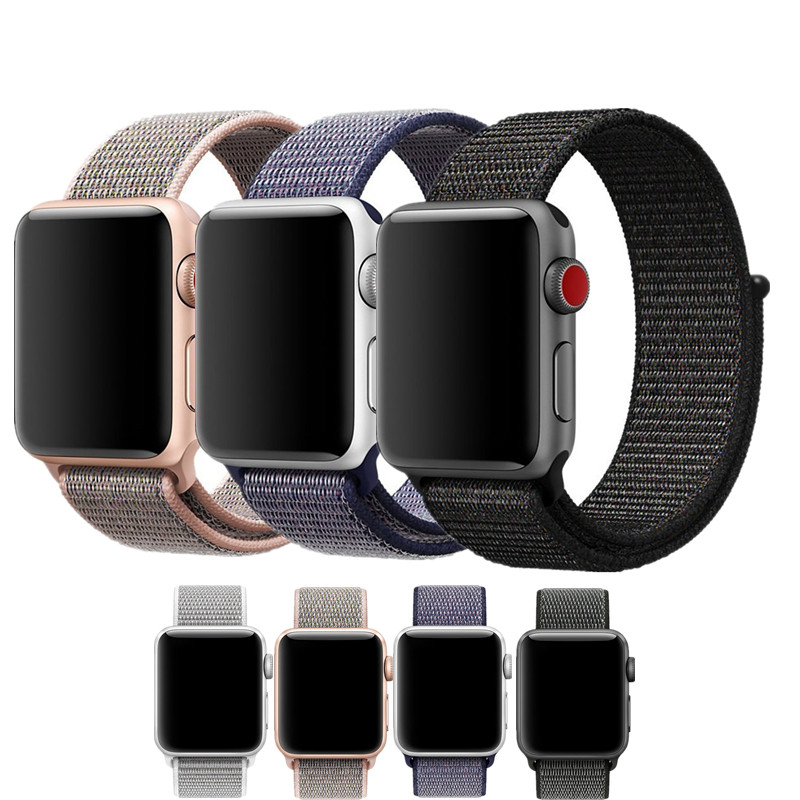 Sport Loop Bands For Apple Watch Band Soft Breathable Woven Nylon Replacement Adjustable Closure Wrist Strap for iWatch 3 2 1 watchbands soft leather loop band for apple watch 38mm 42mm strap adjustable magnetic closure loop watchbands for iwatch sport