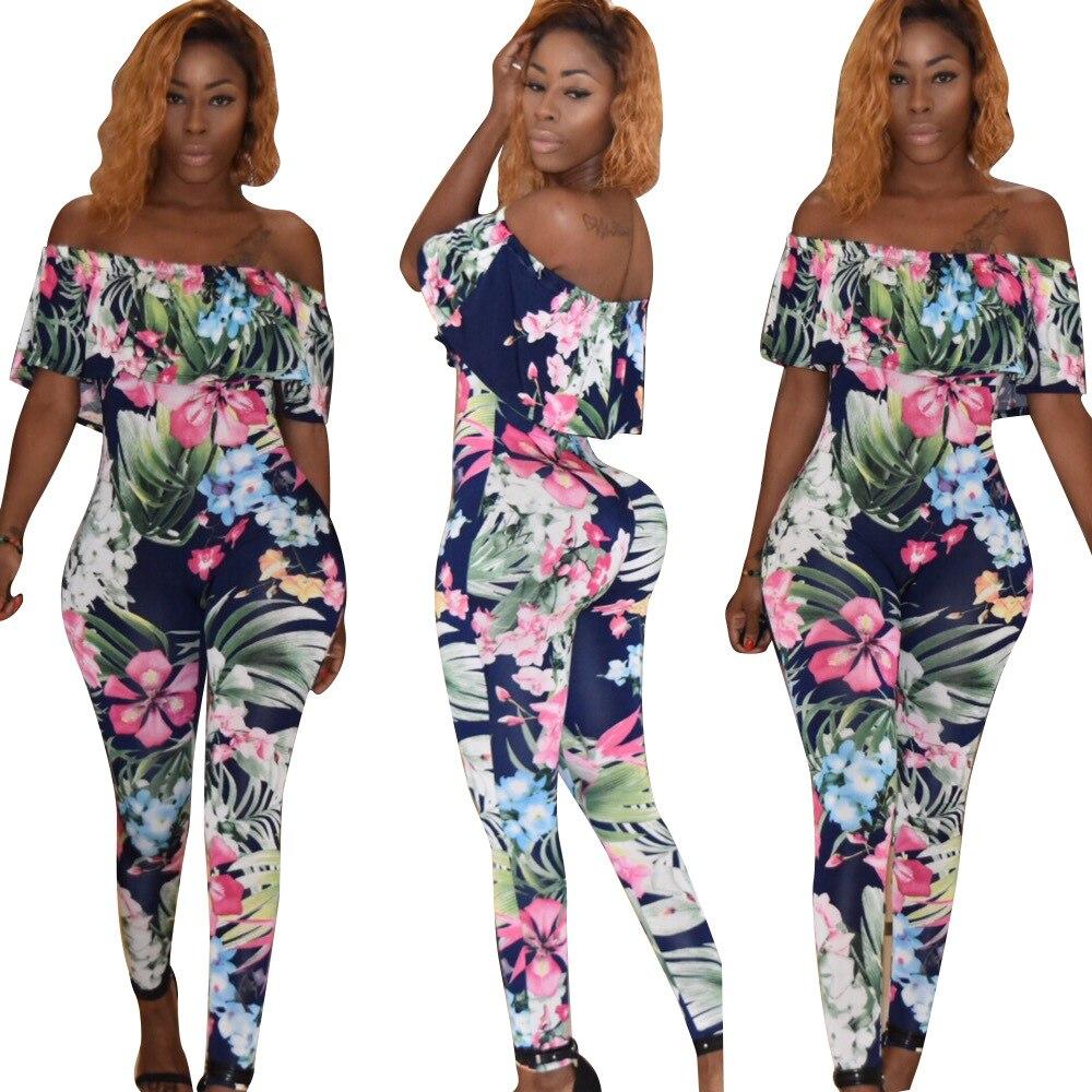 Women Summer Sexy Boho Vintage Jumpsuits Casual Off Shoulder Ruffles Slash Neck Romper Beach Party Night Club Plus Size XL