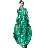 Europejski 2016 High-end Projektant Jesień Moda Zielona Drukuj Sukienka Szczupła Talia Jedwabiu Czechy Szyfonowa Sukienka Duża Huśtawka Piętro sukienka