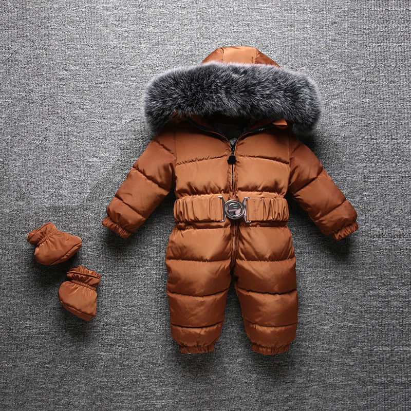 2018 Winter Warm Baby Rompers Jumpsuit Children Duck Down Overalls Toddler Kids Boys Girls Fur Hooded Romper Clothes kindstraum baby down rompers for russia winter toddler kids warm overall trousers duck down boys girls jumpsuit waterproof mc888