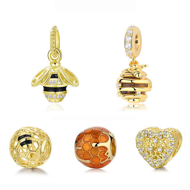 d35b7ac4c Original 100% 925 Sterling Silver Bead Charm Honeybee Queen Bee Pendant  Charms Shine Gold Fit