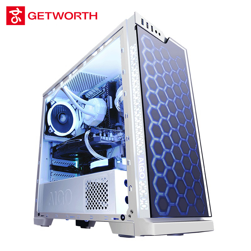GETWORTH S8 Desktop Computer I7 8700 GTX1070 180G SSD 1TB HDD Full White Series Win10 PUBG 8G RAM ASUS Z370 Water Cooling