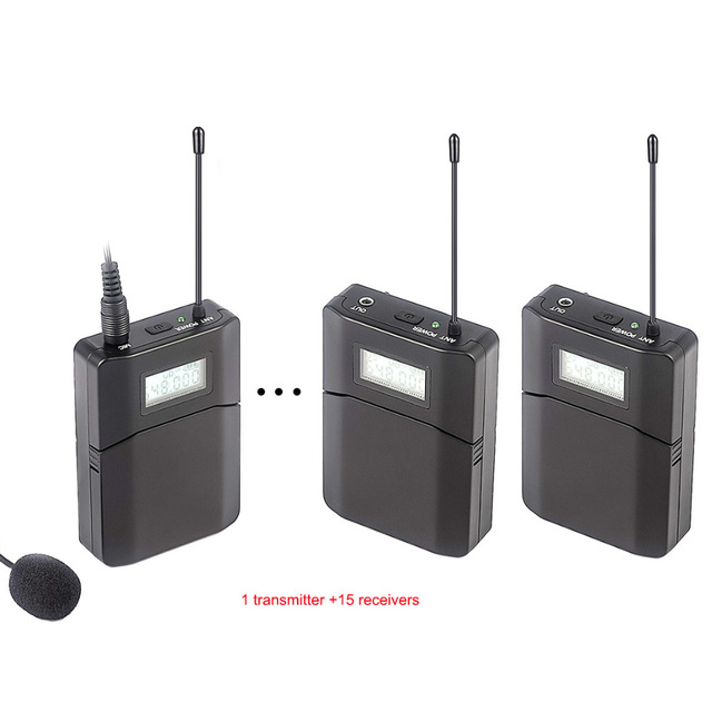 Top Quality UHF Wireless tour guide system voice device teaching  transmitter and receiver 15 Receivers 1 Transmitter With Mic