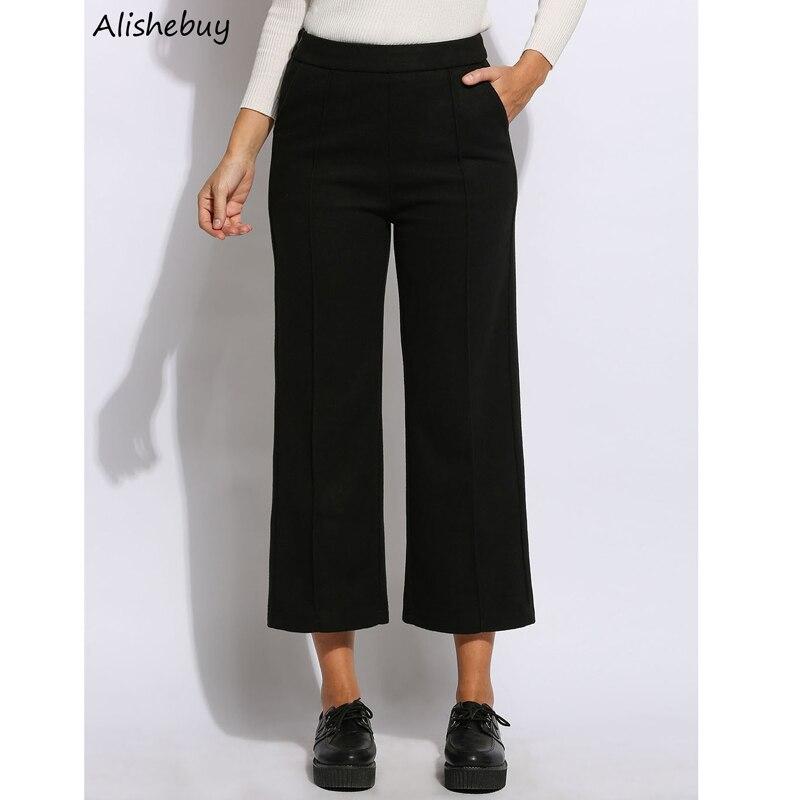 Plus Size Women   Wide     Leg     Pants   Fashion Vintage Ladies High Waist   Pants   Solid Calf Length Culottes Winter Party   Pants   SVH032136