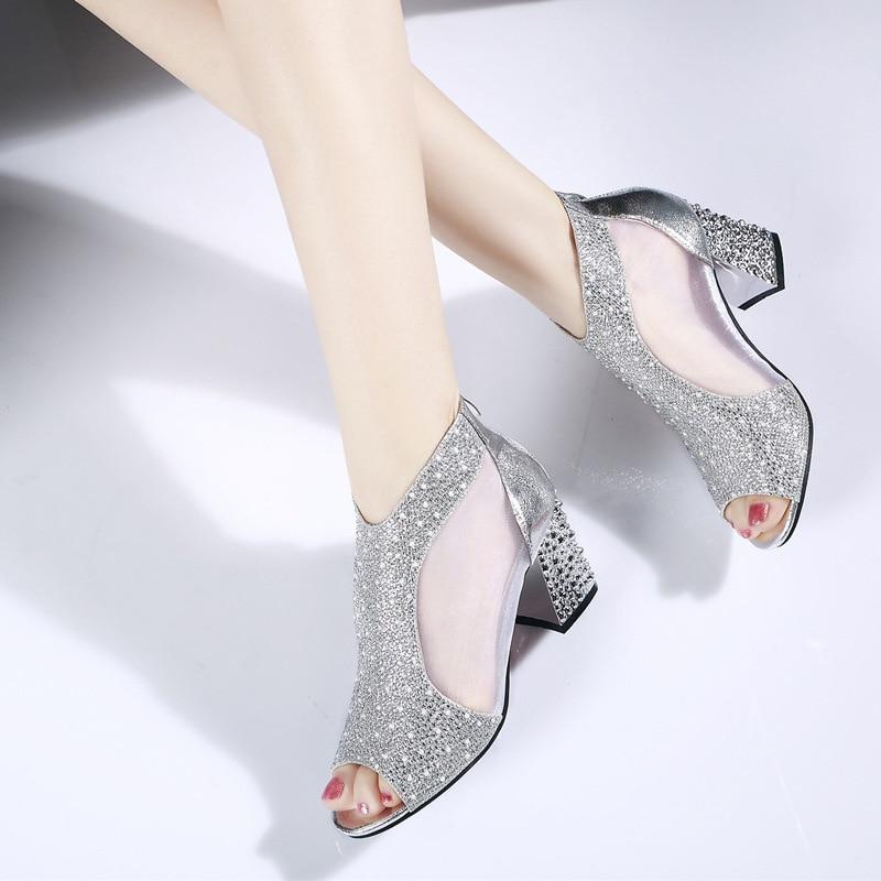 Tacones Boda Sandalias gold Verano Tacón Mujer Moda Silver 2019 7 De Mujeres Bling Las Diamante La Sandalia Cuero Cuadrado Cm Zapatos xzXaq