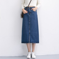 New 2017 Summer Women Long Skirts High Waist Denim Skirt Front Split Long Jeans Skirt Ladies