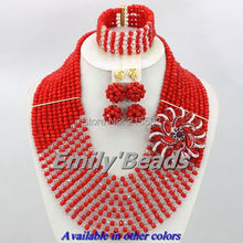Red Nigerian Wedding African Beads Jewelry Set 10 Layers African Costume Jewelry Set Crystal Beads Jewelry Free Shipping AJS913
