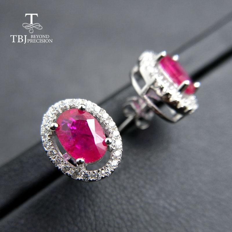 все цены на TBJ,Noble elegant 925 silver earring with natural ruby gemstone Timeless style gemstone earring for women romantic gift for girl онлайн