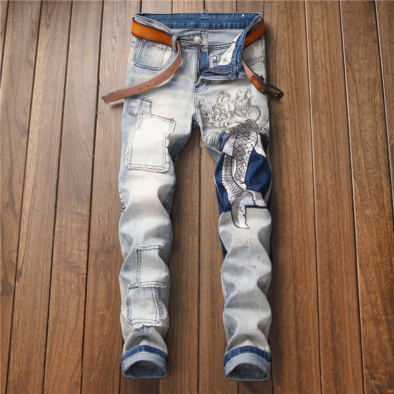 Original design new small straight stretch jeans embroidery retro slim men's tide pants