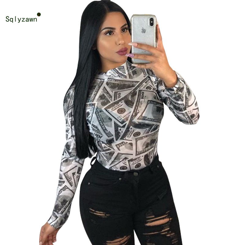 Sexy 3D Print Dollar T Shirt 2019 New Women Fashion Long Sleeve Money T Shirts Casual High Neck Tops For Female Streetwear Tees
