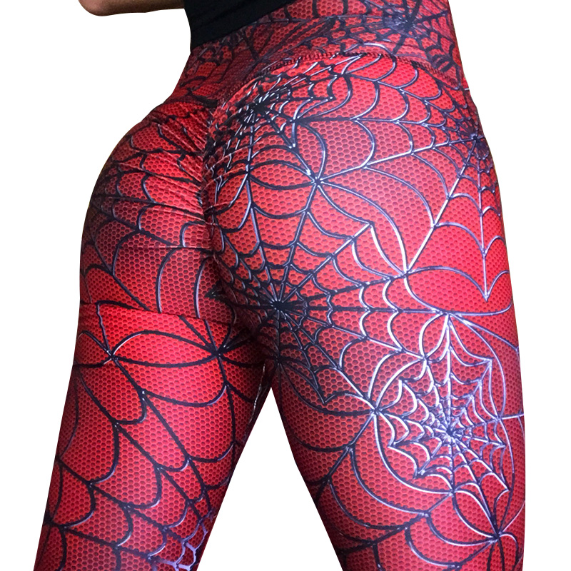 2020 Female New Push Up Sexy Pants Hot Sale Spider Web Digital Printing Jeggings Women Hip High Waist Workout Gothic Leggings