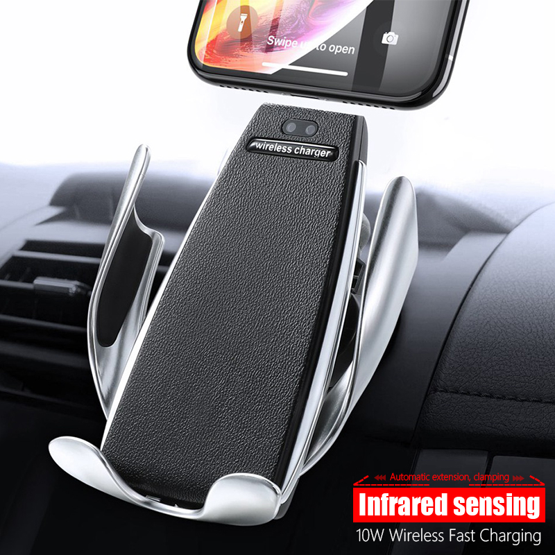 Qi Car Wireless Charger Infrared Sensor Automatic Clamping Fast Charging Holder For IPhone