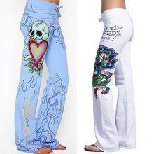 2018 ITFABS nowa marka moda Sexy kobiety casual baggy czaszka Róża drukowane hippie szerokie nogi Boho sexy Panie retro Stylowe spodnie tanie tanio Podkładki Pełna długość Luźne Sukno Płaskie Szerokie spodnie na nogawkach Wysokiej Poliester bawełna Sznurkiem