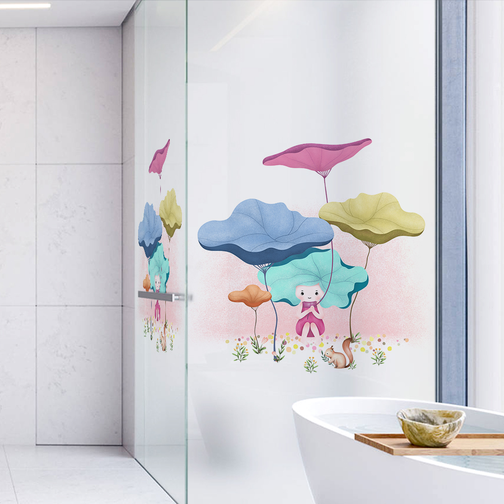 Fairy Heidi Dicor Brand Cartoon Art Window Sticker For Living Room Bedroom Bathroom Glass Door Advanced PVC Opaque Frosted Films in Decorative Films from Home Garden